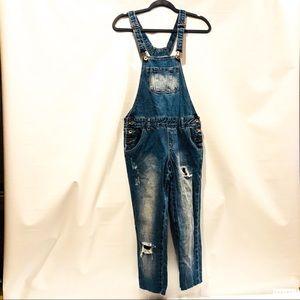 Denim overalls raw hem jean distressed size 2